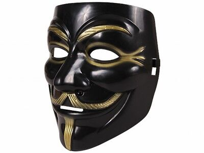 Guy Fawkes Maske schwarz gold | V wie Vendetta | Anonymous | Cosplay | Halloween
