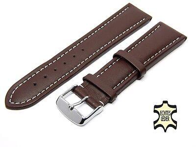 Uhrenarmband Leder 22 mm Braun Herren Uhrband WEISSE ZIERNAHT