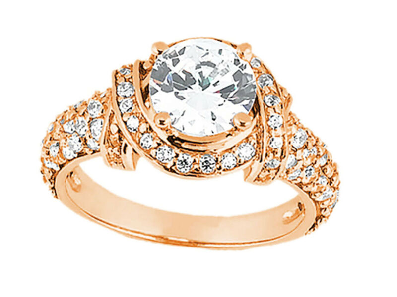 Natural 1.75ct Round Cut Diamond Pave Bridal Engagement Ring Solid 14k Gold