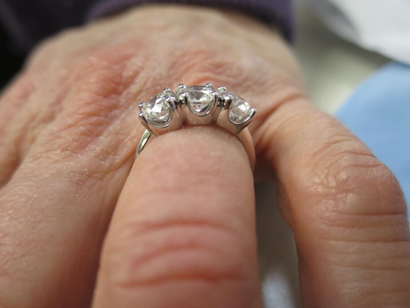2.11 ct 3 Stone Round Diamond GIA cert F VS1 Wedding Ring  14k White Gold