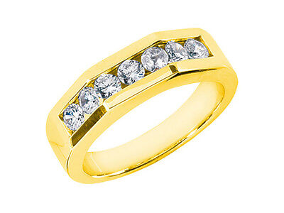 1 1/4Ct Round Cut Mens Wedding Band Ring 18K Yellow Gold G SI1 Channel Setting