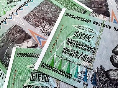 ZIM 50 TRILLION DOLLARS ZIMBABWE AA 2008 P90 UNC FAST SHIP UV INSPECTED WITH COA