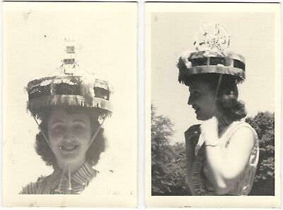 Two 1940s Young Woman with Ferris Wheel Hat Fashion Photos