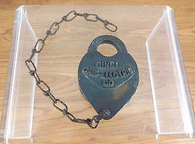 VTG Railroad Lock Chain 1964 Cinci Cincinnati Gas Electric Co Antique Brass Rare