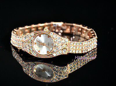 KingGirl 18K RoseGold Plated Austrian Crystal Dress Bracelet Watch Gift wedding