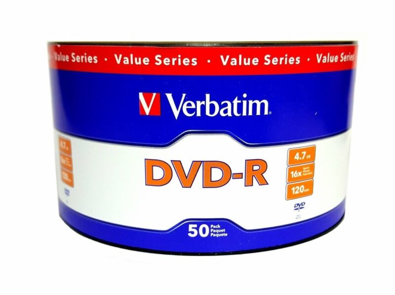 100 VERBATIM Blank 16X DVD-R DVDR Branded Logo 4.7GB Media Disc 2x50pk