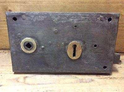 """4¼""""x7¼"""" Reclaimed Old Victorian Steel & Brass Rim Lock For Right Hand Door"""