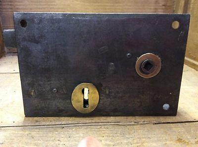 """4½""""x7"""" Reclaimed Old Victorian Steel & Brass Rim Lock For Left Hand Door"""