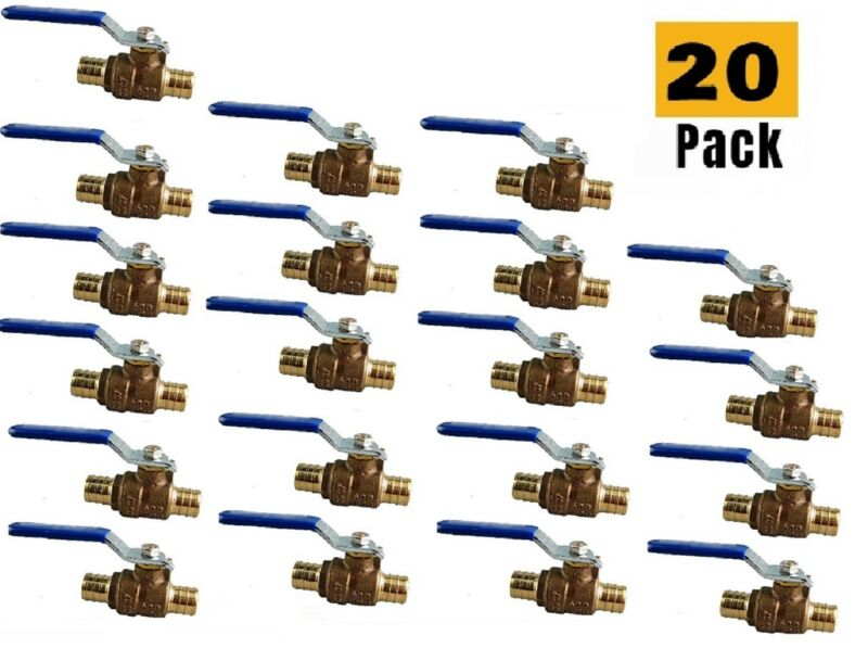 "Plumbing Lot 20Pcs 1/2"" Pex Brass Full Port Water Stop ShutOff Ball Valve LF UPC"