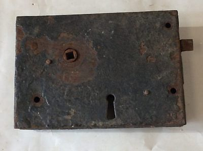 "5""x7"" Unusual Victorian Steel Lift Latch Rim Lock Right Hand"