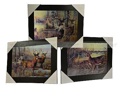 3 Dimension 3D Lenticular Picture Deer Pack Wildlife Wood Forest Cabin Lodge ()