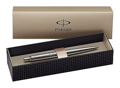Parker Stainless Steel Silver Jotter Ballpoint Ball Pen Black Refill & Gift Box