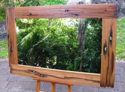 Large One Off Recycled Railway Sleeper Framed Mirror 147x97cm