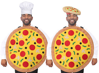 PIZZA COSTUME AND HAT FUNNY NOVELTY FANCY DRESS ITALIAN FAST FOOD PARTY ADULT