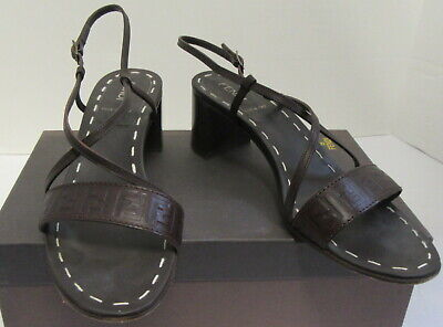 FENDI brown FF sandal heels sz 37