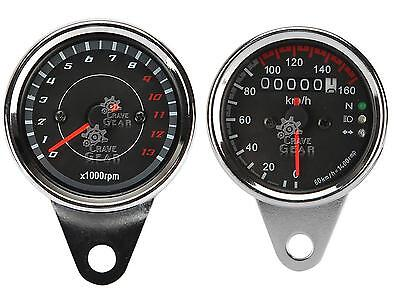 LED Motorcycle Universal Tachometer Tacho Gauge Odometer Speedometer Fits Harley
