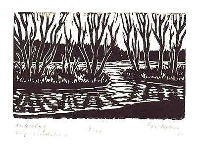 Märztag  - original Linolschnitt Franz Grickschat Nr 118 signiert