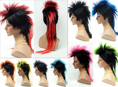 Mohawk Punk Rock Spiky Wig Long Straight Tail Spiked Colors Costume - Punk Mohawk