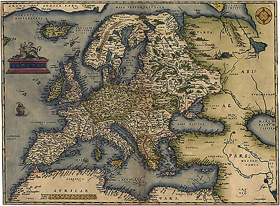 Abraham Ortelius    Map Of Europe   1570    Giclee Fine Art Print