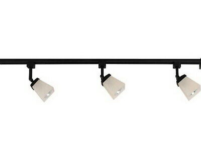 Matte Black 3 Lite Linen Glass Linear Track Lighting Kit With End Feed Cord Plug