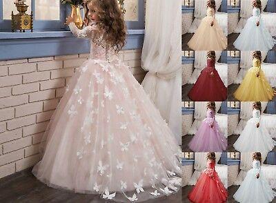 Kids Lolita Flower Girl Dresses For Wedding Long Sleeve First Communion Party - First Communion Long Dresses