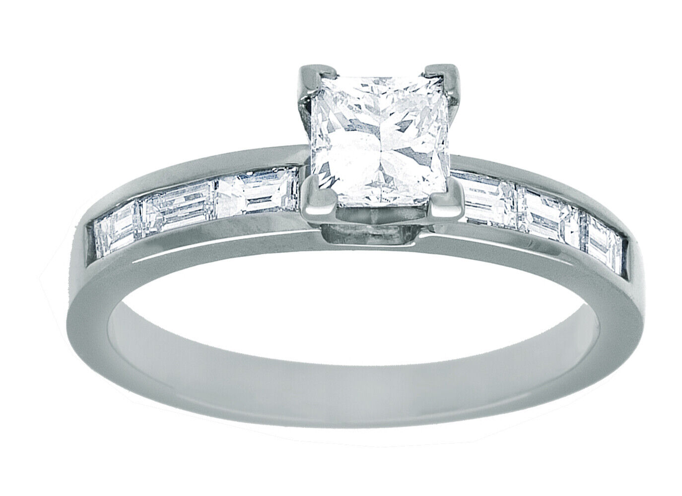 GIA Certified Diamond Engagement Ring 1.42 Ct Princess Cut 18k White Gold