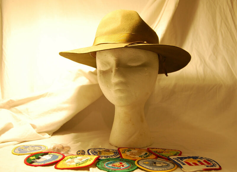 """""""Boy Scouts"""" Memorabilia Vintage Hat Jamboree Council Patches Mini Leather Hat"""
