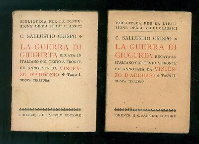 C. SALLUSTIO CRISPO LA GUERRA DI GIUGURTA SANSONI 1931 1940 VINCENZO D'ADDOZIO