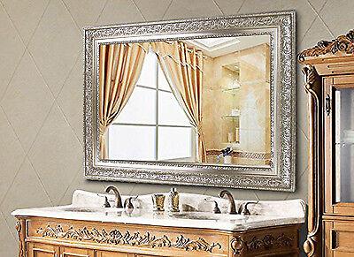 rectangular large wall mirror wood frame vintage silver