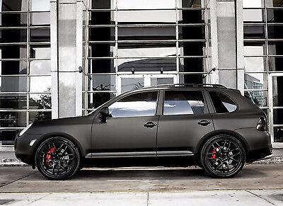 22  Imola Wheels Set For Porsche Cayenne 22X11 Concave Satin Black Rims Set Of 4