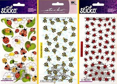 Ladybug Stickers (U CHOOSE Sticko LADYBUGS & BEES Flat Stickers Spring Summer)