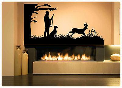 Wall Decal Room Sticker Bedroom hunting man gun weapon dog deer shot hunt bo2932