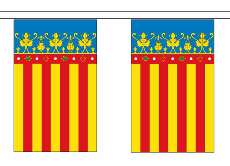 Spain Valencia Polyester Flag Bunting - 9m long with 30 Flags