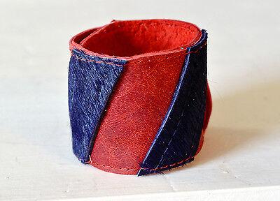 Leder Armband Schnapparmband aus Leder und Fell rot lila Klackarmband Kuhfell