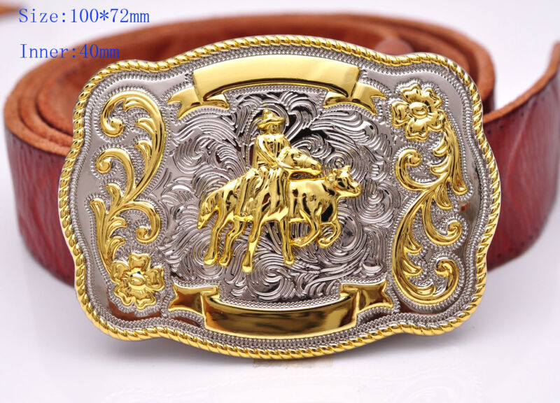 Bull Ride Rodeo Animal Long Huge Rodeo Cowboy Cowgirl Western Shine Belt Buckle