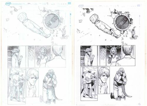 Amazing Spider-Man #25 p.9 - Pencil and Ink Versions 2pc art by Humberto Ramos