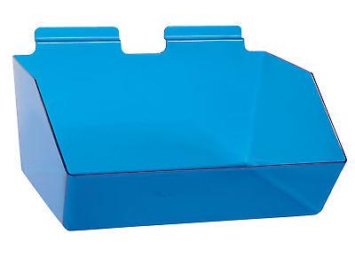 6 Slatwall Bins Dump Acrylic Blue 12 X 9 X 5 Wire Grid Slat Wall Retail
