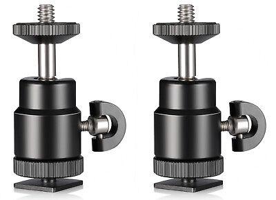 "Phot-R 2x Compact Swivel Mini Ball Head Flash Hot Shoe Adapter DSLR Camera 1/4"""
