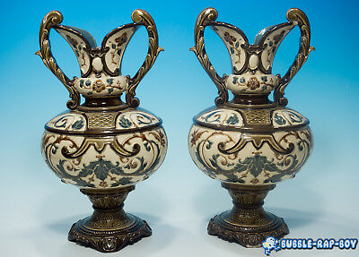 Antique G&ST Gerbing & Stephan Majolica Bohemian Pair of Vases c1890