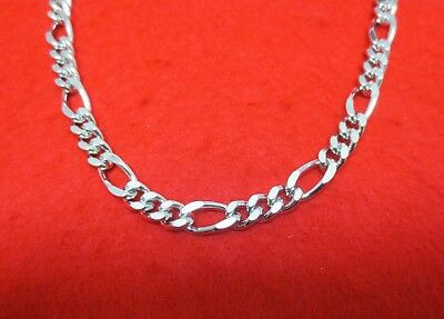 14KT WHITE GOLD EP 16-30  INCH 9MM FIGARO ROPE CHAIN BLING NECKLACE 14kt White Gold Figaro Necklace