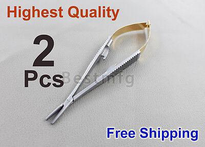 2 Castroviejo Needle Holder Tc Perma Sharp Dental Surgical Orthodontic Holders