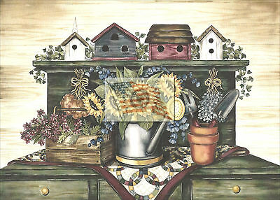 REPRINT PICTURE of older print BIRD HOUSE POTTING BENCH 7x5
