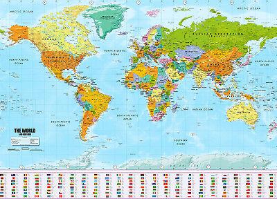 XXL Weltkarte Poster Riesen Landkarte Posterformat 140x100cm mit Fahnen-Flaggen