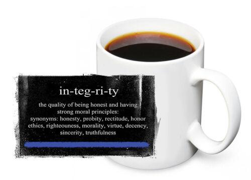 Thin Blue Line Definition of Integrity Police Design 11oz. Ceramic Coffee Mug