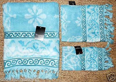 Rare Tahari Home Finest Luxury Collection Velour Fringed Border Bath Towels 3pc