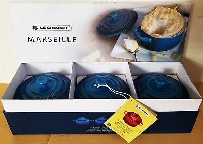 LE CREUSET stoneware MARSEILLE set 3 MINI COCOTTES round 3oz CASSEROLES with LID Mini Round Cocotte