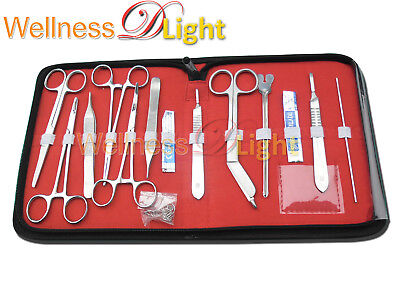 Wdl New 18 Pcs Minor Surgery Set Stainless Steel Case Surgical Instruments Kit