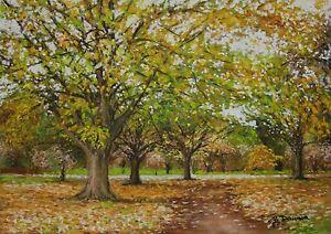 Early Autumn, original landscape pastel painting on board by Geoff Dawson