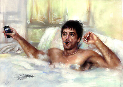 Al Pacino Scarface Hot Tub Giclee Reproductions Canvas from Haiyan's ArtWork