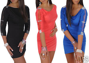 NEW-Sexy-Bodycon-Dress-Lace-Sleeve-Diamente-Detail-Tunic-Top-size-8-12-121